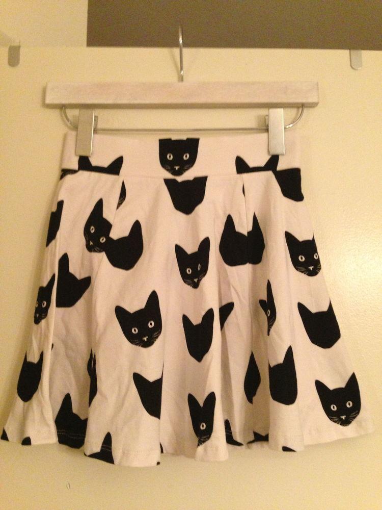 H M Conscious Trend Divided Cat Skirt Peplum Tulip Like Flair Zip XS s M | eBay