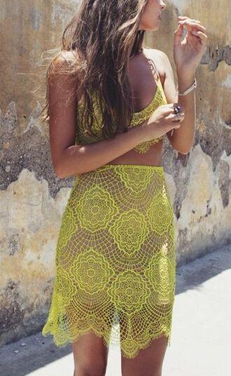 shirt yellow lace crop tops pencil skirt summer outfits tank top skirt