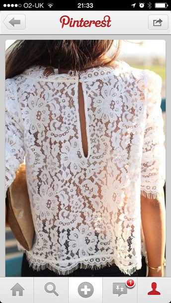 blouse lace top cream white pretty fashion trendy