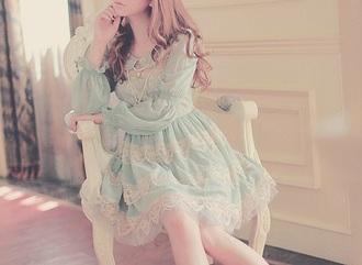 dress ulzzang dress ulzzang pastel dress lace dress vintage dress long sleeve dress blouse babydoll dress green dress blue dress
