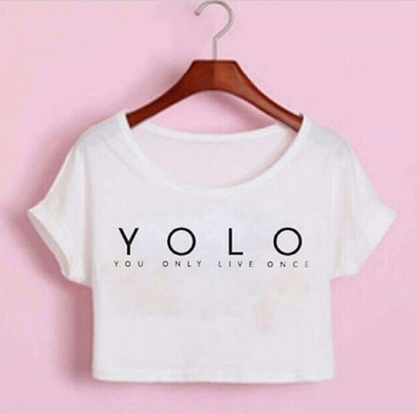 shirt t-shirt top crop tops tank top white white crop tops graphic tee yolo summer outfits