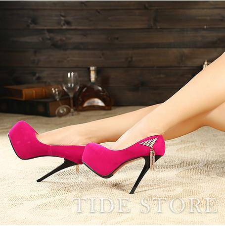 Pure Color Rhinestones Triangle Platform Fashion Women's High Heels Prom Shoes: tidestore.com