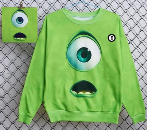 shirt green monster sweater