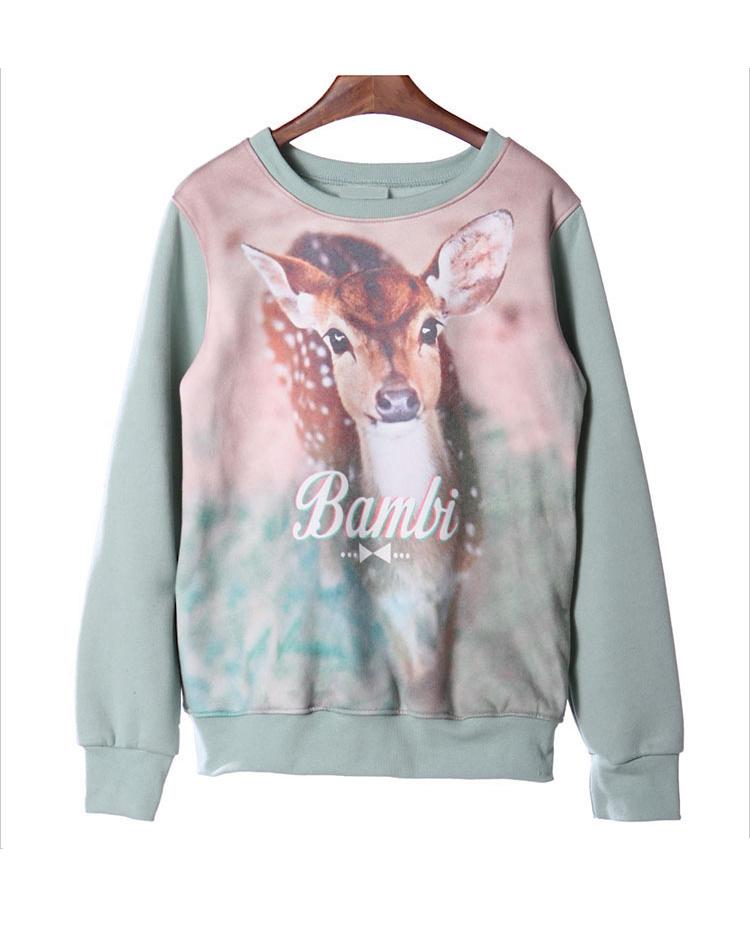 Sika Deer Watercolor Printing Fleece/FLC0068 on Luulla