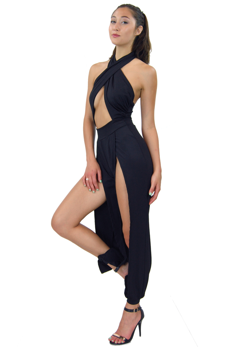 Sexy Women's x Appeal Double Slits Aladdin Pants Rompers Jumpsuits Black White | eBay
