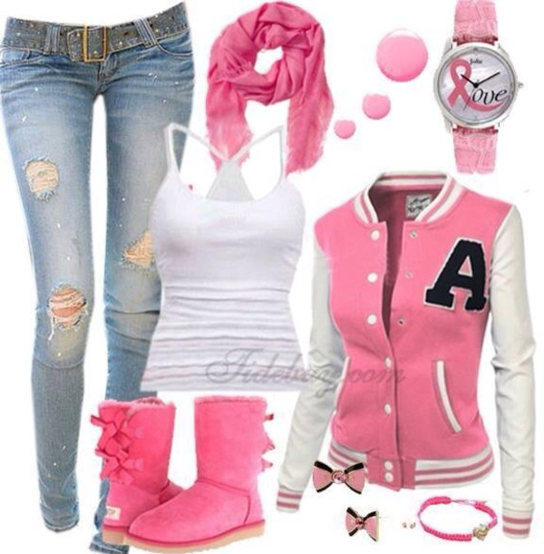 jeans jewels nail polish scarf shoes jacket coat tank top pink outfit