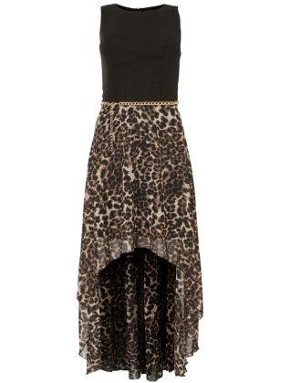 Brown Animal Print Dip Hem Dress