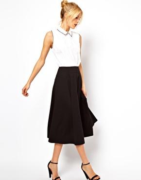ASOS   ASOS Midi Skirt with Stitch Waist Detail at ASOS
