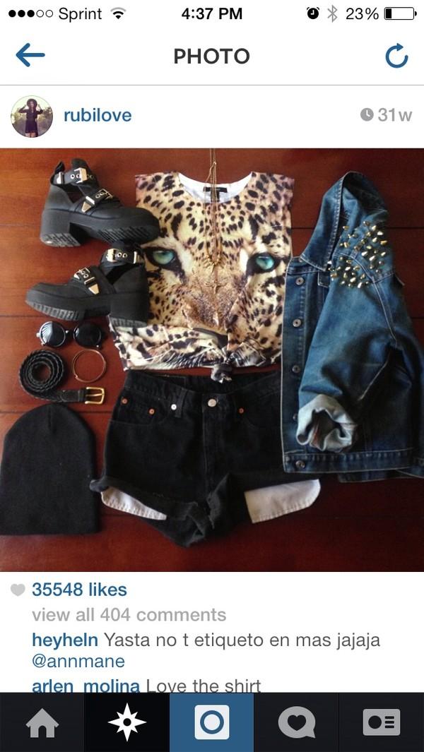 jacket blue jean jacket studded denim jacket tiger shirt High waisted shorts black combat boots shirt shorts shoes black boots