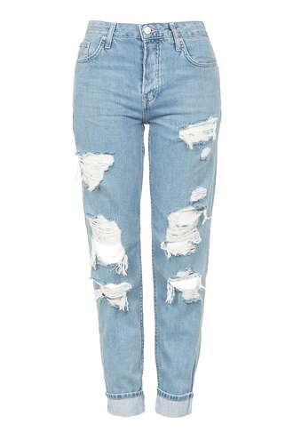 jeans topshop clothes boyfriend jeans lightwash jeans ripped jeans