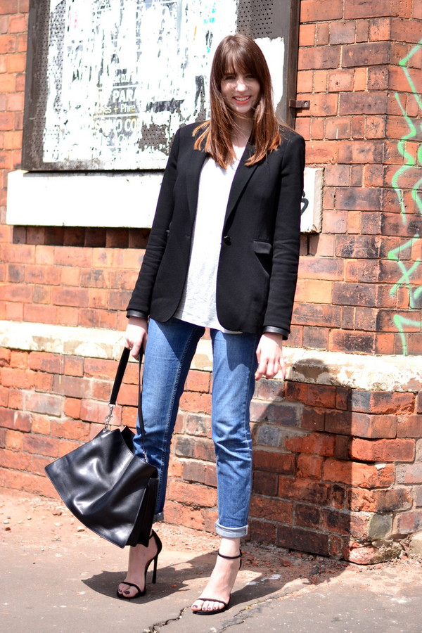 shot from the street jeans top jacket shoes bag