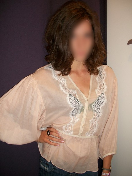 blouse lace silk nude
