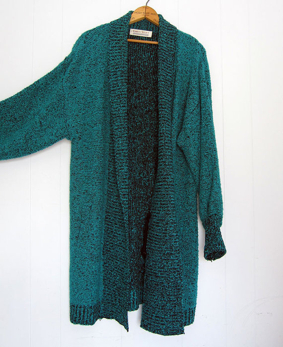 Vintage Oversized Sweater Draped Cardigan Duster by thefamilyvtg