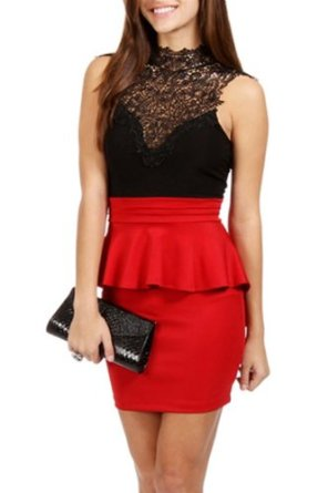 Forever Young Ladies Laced High Neck Peplum Dress Party Evening Wear Mini Dress: Amazon.co.uk: Clothing