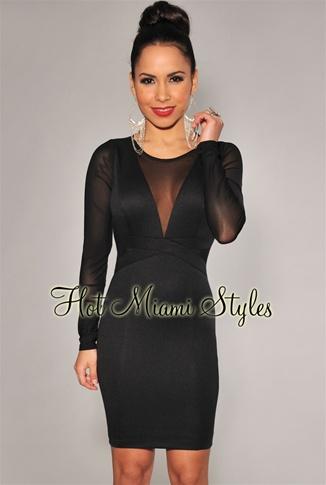Black Mesh Accents Long Sleeves Dress