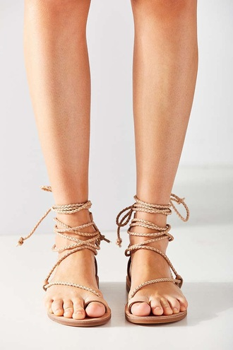 shoes sandals braided strappy sandals flat sandals