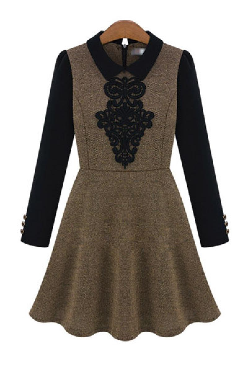 Western Autumn & Winter New Section Doll Collar Long Sleeve Dress,Cheap in Wendybox.com
