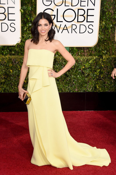 dress jenna dewan carolina herrera clutch Golden Globes 2015 bag jimmy choo