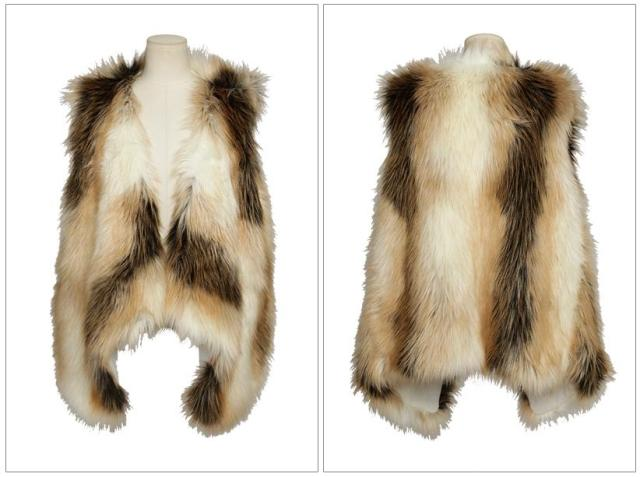 Sexy Ladies Faux Fur Cream&Brown Mixed Asymmetrical Hem Waistcoat Jacket Vest   eBay