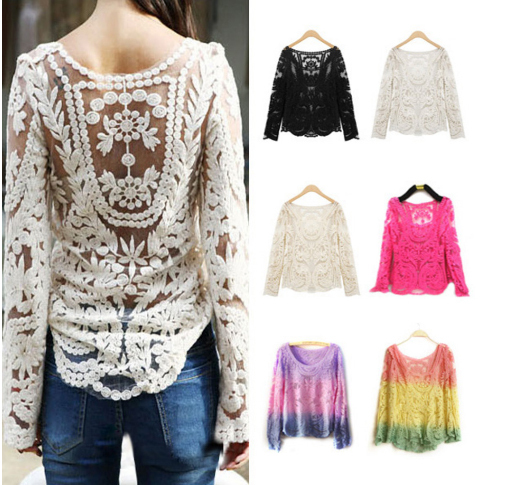 High Quality Size S M L XL XXL Semi Sexy Sheer Sleeve Embroidery Floral Lace Top  Blouses Crochet Tee T Shirt Top T shirt-in T-Shirts from Apparel & Accessories on Aliexpress.com