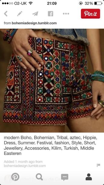 shorts aztec aztec shorts boho bohemian shorts tribal pattern hippie festival middle eastern fashion summer outfits