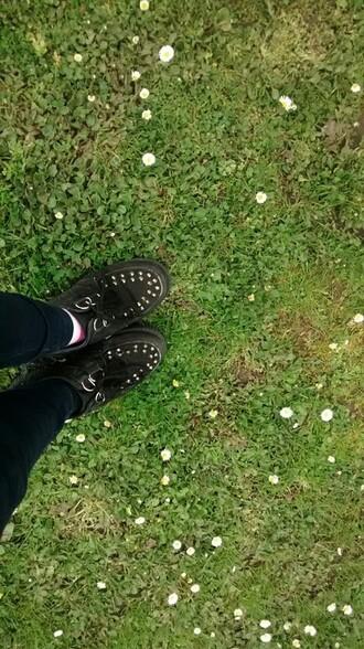 clothes shoes black grass