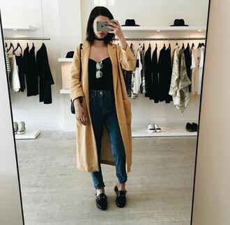 shoes black jeans top yellow coat overcoat makeupbymandy24 amanda steele outfit fashion cute black top sunglasses silver coat trench coat