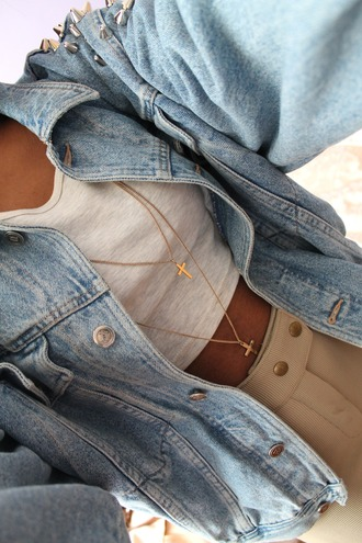 jewels tumblr outfit fall sweater fall outfits clothes high waisted jeans american apparel cross jewelry accessories necklace gold jewelry jacket denim jacket oversized grunge big jacket jean jackets