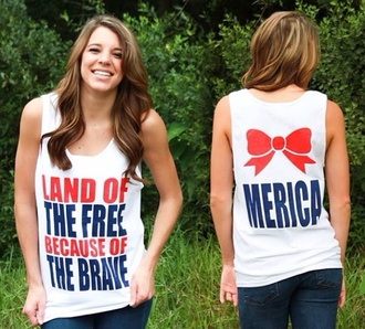 tank top 'merica merica bows red white and blue