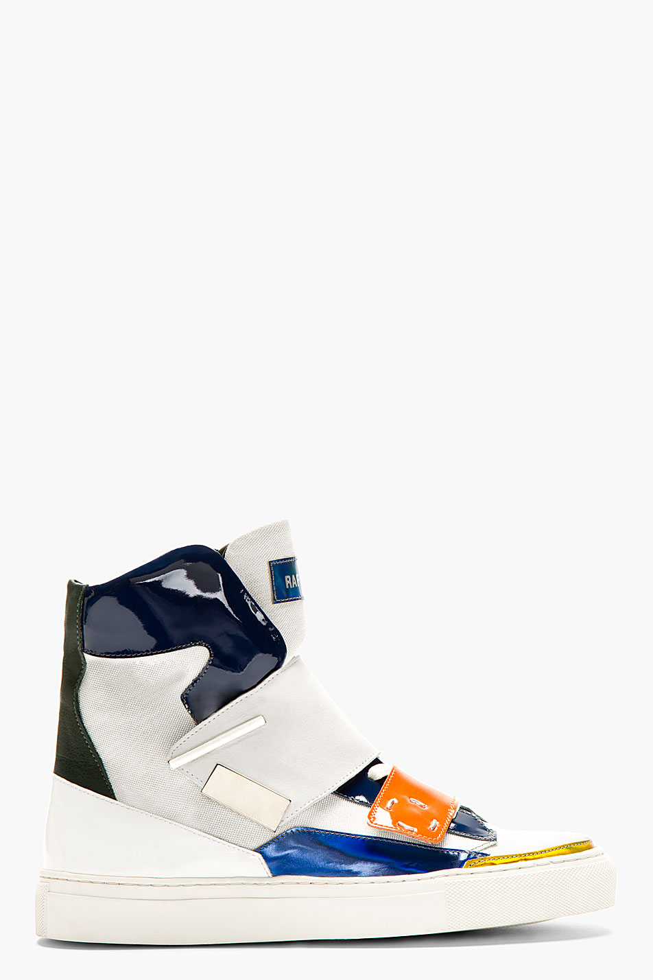 raf simons white patent leather and canvas high top sneakers