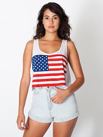 Printed Mid-Length Tank - US Flag   American Apparel