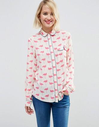 blouse cute flamingo pink white collar peter pan collar blue buttons