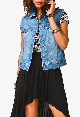 Sandblasted Denim Vest | FOREVER21 - 2030188025