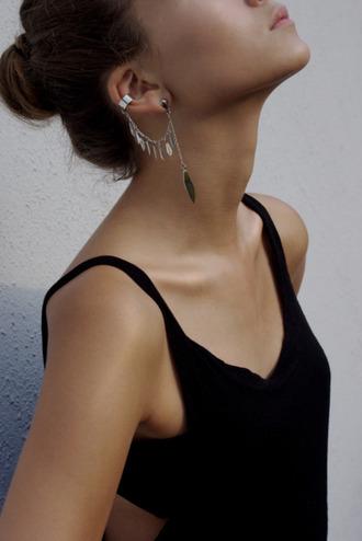 jewelry boho boho jewelry silver silver jewelry silver earrings leaves jewels ear cuff earrings