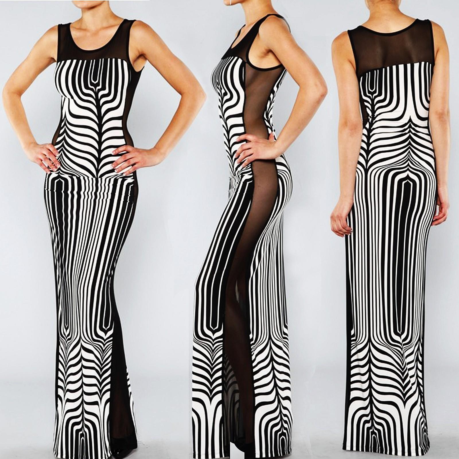 EXOTIC CHEVRON ZEBRA Art Print Sheer MESH Black White Sexy BodyCon Maxi Dress L - Dresses