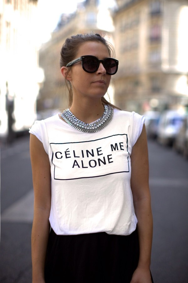 shirt celine Celine Me Alone T-shirt casual chic top white chic blogger shirt vogue style celeb jewels necklace jewerly bib necklaces t-shirt t-shirt streetstyle statement necklace black sunglasses white t-shirt slogan t-shirts black skirt