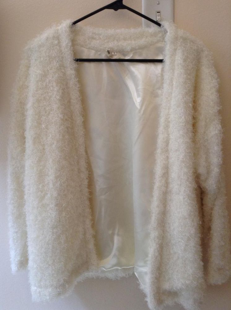 Fluffy White Cardigan Size Small | eBay