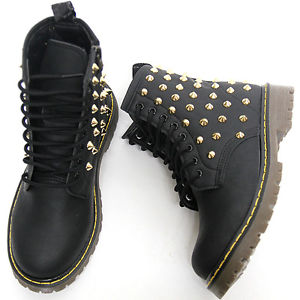Womens Black Gold Studded High Top Zip Combat Boots Ladies Military Shoes   eBay
