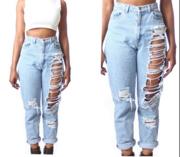 jeans ripped jeans high waisted jeans