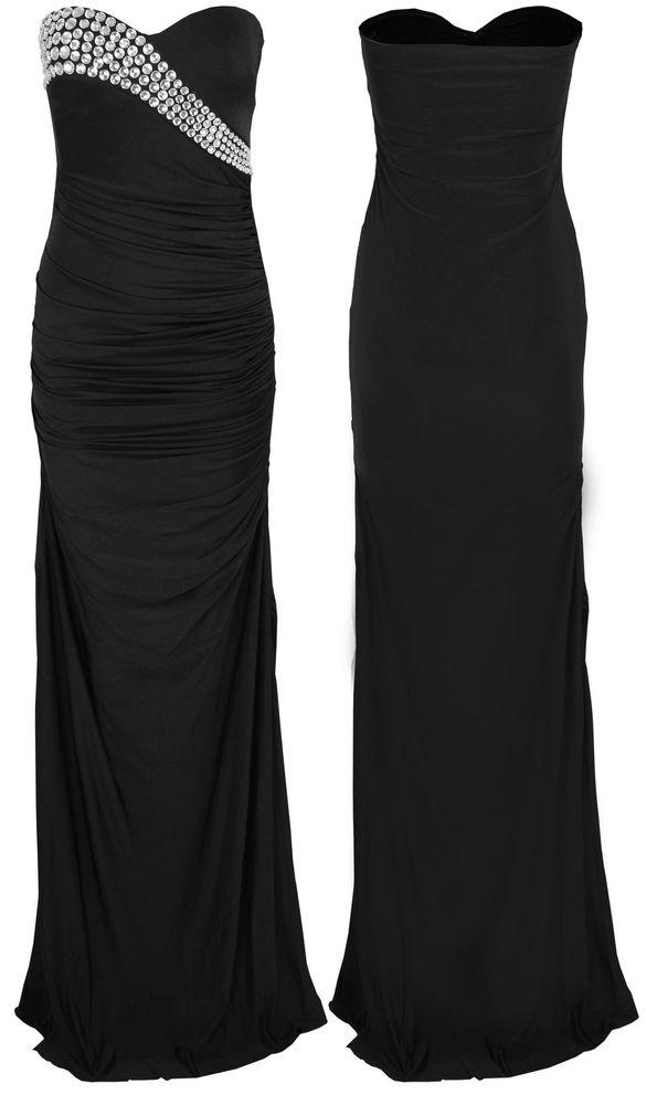WOMENS DIAMANTE GLAM EVENING COCKTAIL PARTY LONG MAXI DRESS | eBay