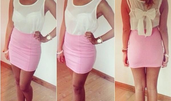 blouse schleife white pink dress bluse rock skirt