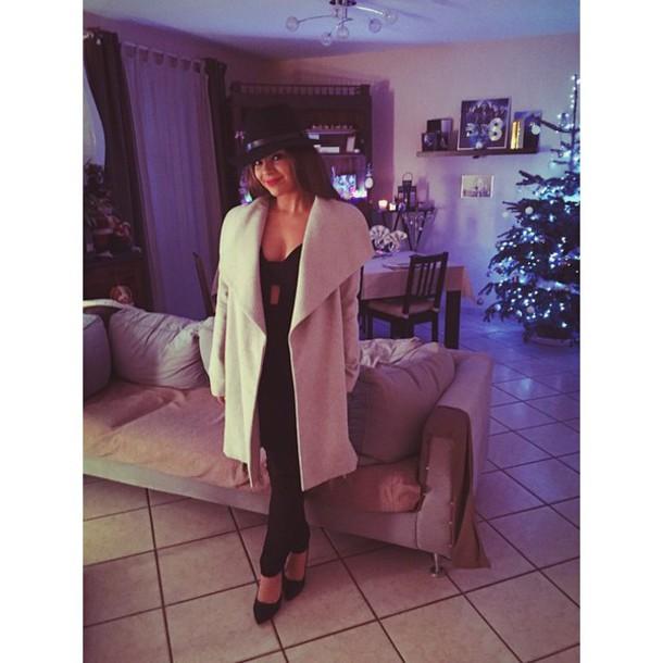 black heels coat jacket