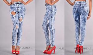 High Waist Destroyed Acid Mineral Skinny Denim Jeans Pants 1 15 | eBay