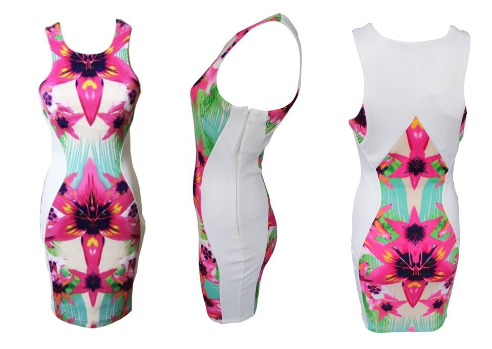 free  shipping  in April Free Shipping  Slim package hip dress sexy printed the fluorescent light pink dress notu2013175-in Dresses from Apparel & Accessories on Aliexpress.com