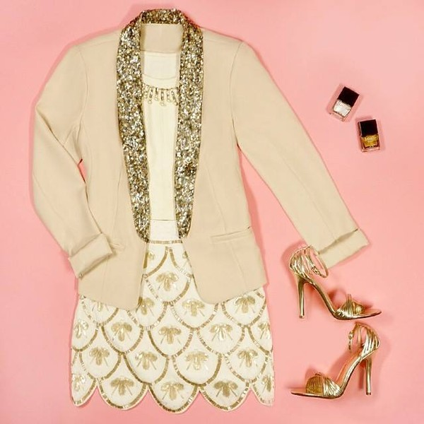skirt sequins gold jacket shoes
