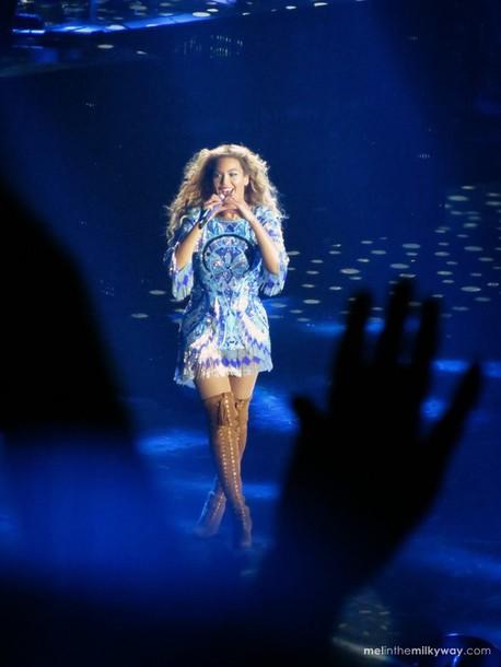 dress beyonce dress blue dress fringes