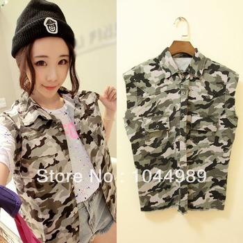 Free Shipping New Fashion Chic Women's Sleeveless Army Camo Cowboy Punk Denim Vest Short Jacket Coat-in Vests & Waistcoats from Apparel & Accessories on Aliexpress.com