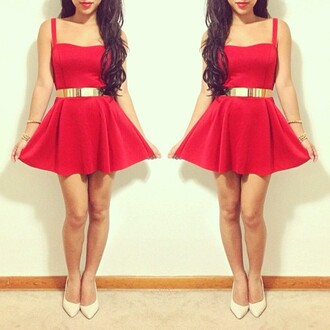 dress red dress skater dress glamour tumblr party dress going out belt red flowy cirlce skirt gold chic flirty heart line gold belt mirror image skater skirt beautiful red dress musthave sweetheart dress valentine classy dress ceinture hot skater girly red mini dress