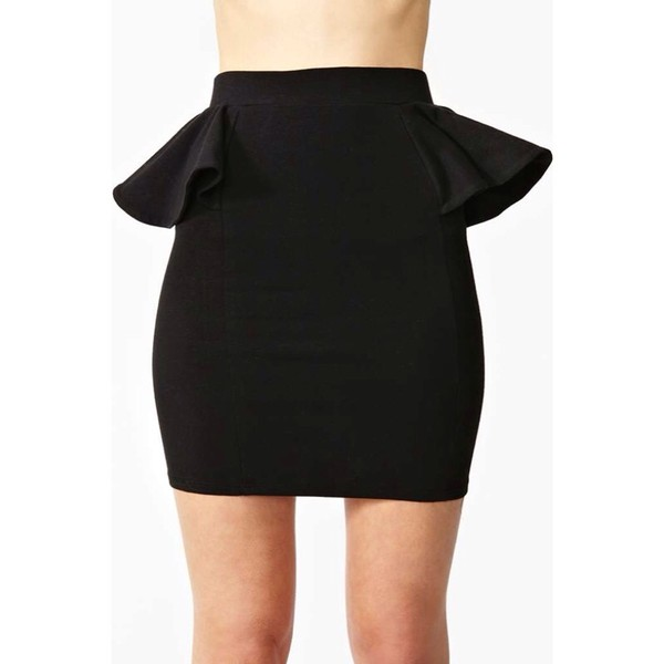 skirt black black skirt cute pretty short skirt peplum peplum skirt black side peplum skir