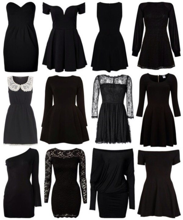 dress black black dress little black dress cute cute dress tumblr grunge lace long sleeves short sleeve no sleeve collar no shoulder little black dress sweetheart dress dress goth black dress clothes